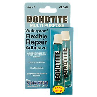 Bondtite Waterproof Flexible Repair Adhesive 12g Tube (Pack of 2)
