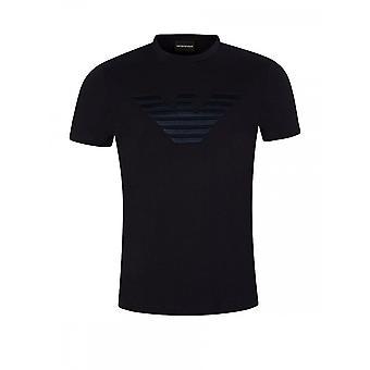 Emporio Armani Viscose Stitched Logo Navy T-shirt