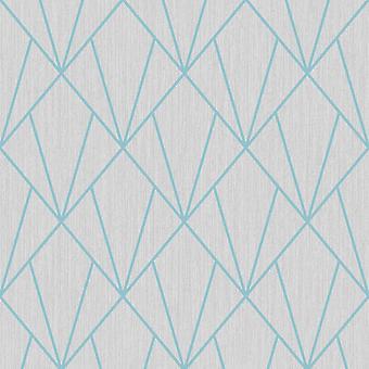 Grijsturkoois geometrische diamanten behang metallic glitter Muriva Indra