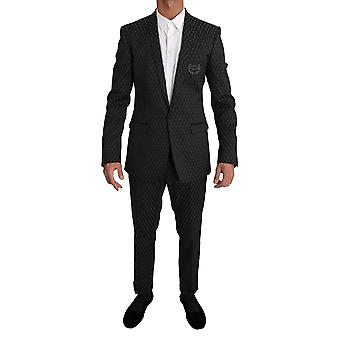 Dolce & Gabbana Black Gray GOLD Crown Logo 2 Piece Suit