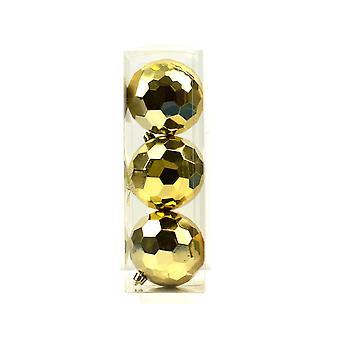 3 Gold 7cm geometrische shatterproof Weihnachtsbaum Bauble Dekorationen