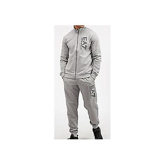 EA7 by Emporio Armani Funnel Neck Zip Grey Cotton Tracksuit