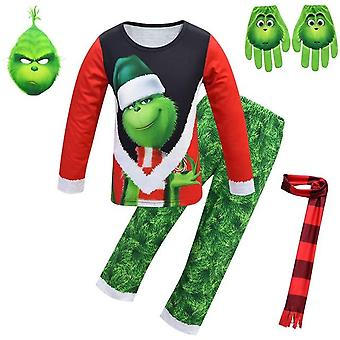 Christmas Grinch Pajamas Mask,Scarf, Face Print Gloves