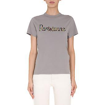 Maison Kitsuné Fw00141kj0010darkgrey Femmes-apos;s Grey Cotton T-shirt