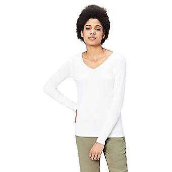 Marca - Daily Ritual Women's Jersey Long-Sleeve V-Neck T-Shirt, Branco, Pequeno