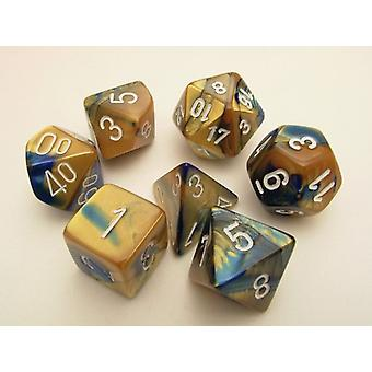 Chessex Gemini Polydice Set - Blue-Gold/white