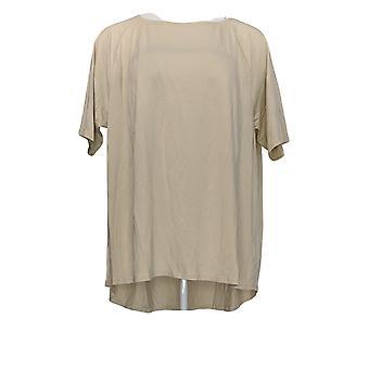 Anybody Women's Top Cozy Knit Short-Sleeve Swing Beige A349828