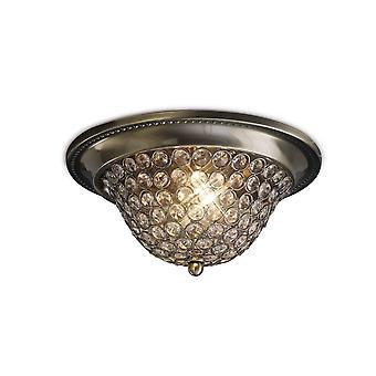 Inspiriert Diyas - Paloma - Flush Schüssel Decke kleine 2 leichte antike Messing, Kristall