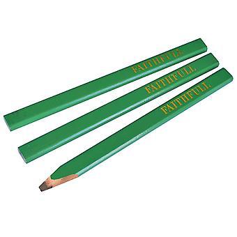Faithfull Carpenter's Pencils - Green / Hard (Pack of 3) FAICPG