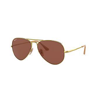 Ray-Ban RB3689 9064AF Błyszczące złoto/spolaryzowane fioletowe-AR niebieskie okulary przeciwsłoneczne