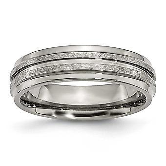 Titan Schlossdrücker poliert und satiniert gerillt 6mm Satin poliert-Band-Ring - Ring-Größe: 6 bis 13