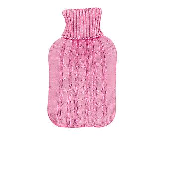 Full Size Hot Water Bottle With Knitted Cover - Pink