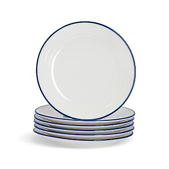 Nicola Spring 6 Piece Country Farmhouse White Side Plates Set with Blue Rims - 16cm