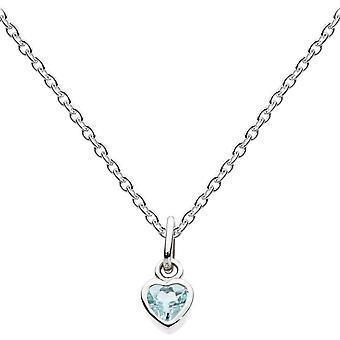 ندى الاسترليني الفضة Dinky صغيرة الأزرق توباز قلادة القلب 9006BT012