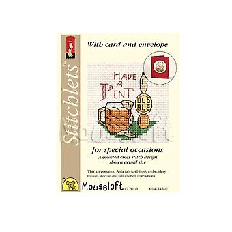 Have a Pint Stitchlets Counted Cross Stitch Card Making Kit