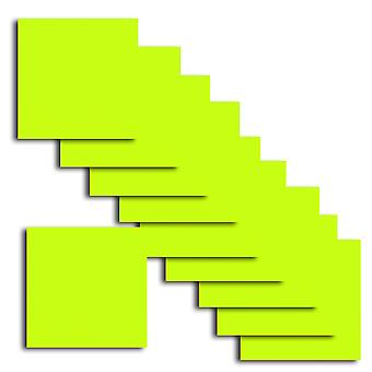 10 Fluorescent Acid Lime Square Card Insert 140 x 140