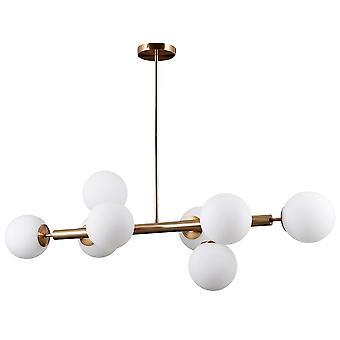 Modernt hängande hänge Gyllene 8 Ljus med vit nyans, G9