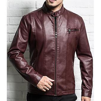 Men Leather Jacket Sheepskin New Spring Autumn Slim Zipper Male Motorcycle