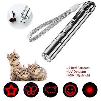 5 padrões USB Direct Charge Mini Lanterna Recarregável Laser Padrão Roxo Luz Engraçada Gato Gato Brinquedo Interativo