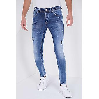 Paint Drops  Jeans - Slim Fit - 5301E - Blauw