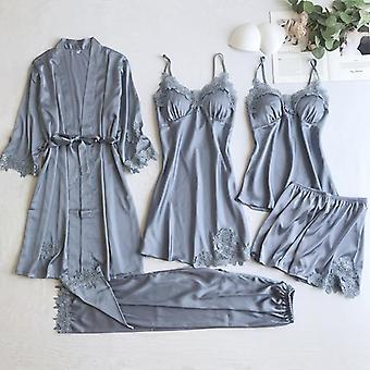 Sexy Frauen Spitze Home Wear Schlaf Set Casual Satin Home Kleidung seidig solid