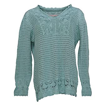 Laurie Felt Mujeres's Suéter Crochet V-Cuello con Tank Sage Verde A352681