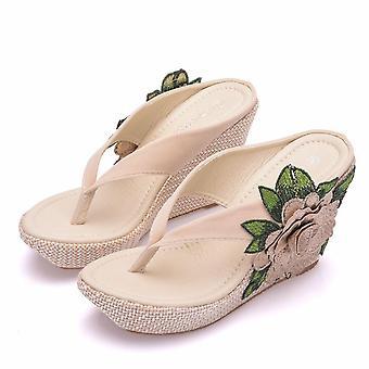 Woman Casual Beach Flip Flops Sandals Summer Sexy High Heel Slippers