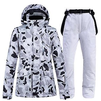 女性の防風,防水通気性ウォームジャケット, スキーパンツ