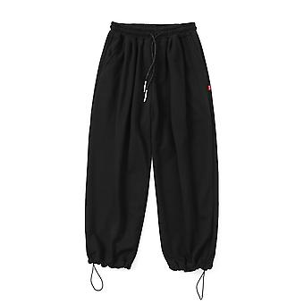 Men Solid Cotton Harem Pants, Joggers Couple Loose Black Casual Sweat Pant