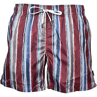 Ermenegildo Zegna Rayas de Colores Swim Shorts, Berry