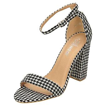 Koi Footwear Open Toe Ankle Strap Shoes Block Heel Houndstooth