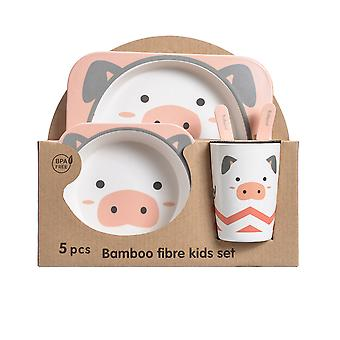 5pcs Bamboo Kids Dinnerware Set, Cartoon Tableware with Plate,Fork and Spoon Set