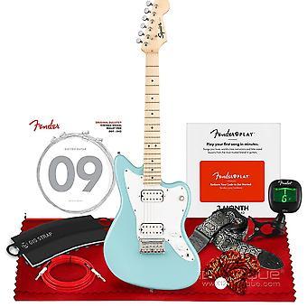 Squier mini jazzmaster elgitarr hh av fender, lönn fingerboard, daphne blå, med clip-on tuner, fender california instrument ps77799