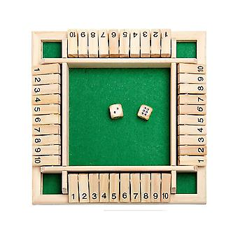 Shut The Box Dice Jeu de plateau Four Sided 4 Joueurs Digital Puzzle Fun Game