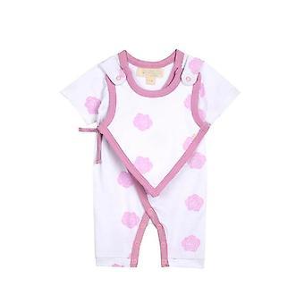 Smart Short Sleeve Kimono Romper + Bib - Pink Rose