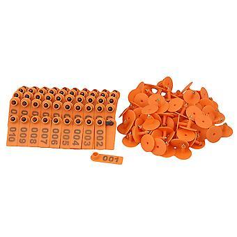 Orange 1-100 Number Plastic Livestock Ear Tag For Goat Sheep Pig With 100 Sets