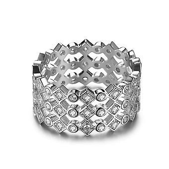 Anello d'argento sterling rotondo anello di fidanzamento matrimonio zirconia bianca