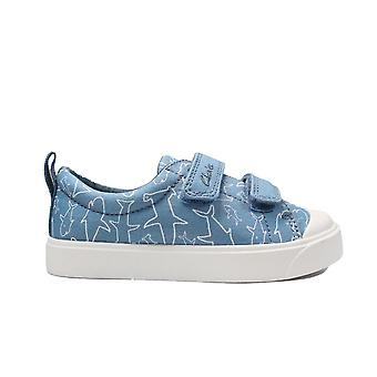 Clarks City Bright Toddler Mid Blue Canvas Childrens Rip Tape Casual Shoes