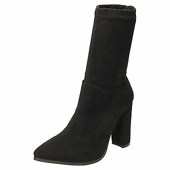 Koi Footwear High Heel Mid Calf Ankle Boots Sock Fit Pointed Toe