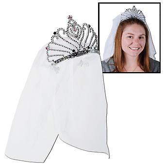 Kunststoff-Braut zu sein Tiara W/Veil (Packung mit 12)
