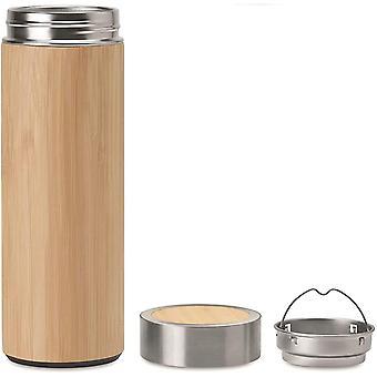 Wokex Bambus Thermoskanne 500ml - Tee zu gehen Thermoflasche im edlem Bambus Design - doppelwandige