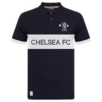 Chelsea FC Herre Polo Shirt Retro Cut &sy Blå OFFICIELLE Fodbold Gave