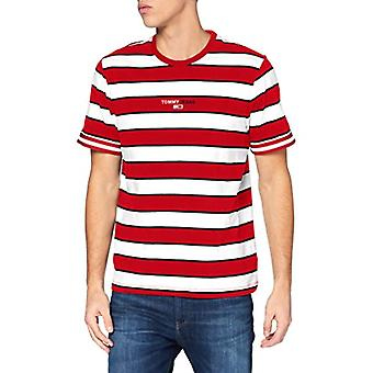Tommy Jeans Tjm Small Text Stripe Tee Shirt, Cremisi Profondi, S Homme