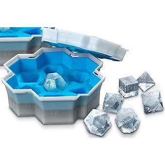 18cm 3D dice silicone beverage ice cube maker used for pudding ice mold square tray mold form(Blue)