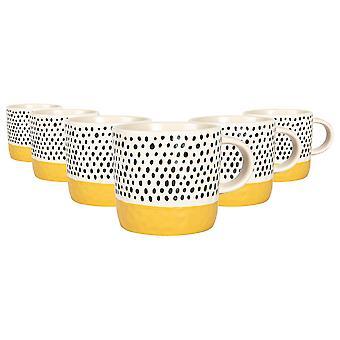 6x keramische dip stippen koffie mokken patroon gekleurde thee kopjes 385ml mosterd