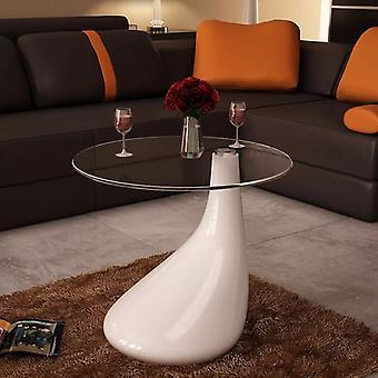 vidaXL Table d'appoint avec plateau de verre rond blanc