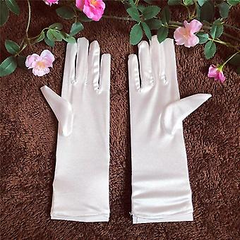 Wedding Lace White Bow Short Gants en satin