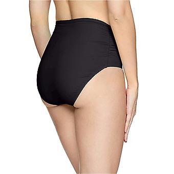 Anne Cole Women's High Waist to Fold Over Shirred Bikini, Black, Size Large