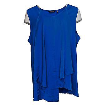 IMAN Global Chic Women's Plus Top Asymmetric Tiered Tank Blue 694113
