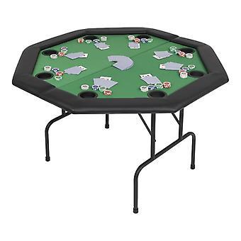 Mesa de póquer para 8 jugadores octagonales 2-FoldAble Green